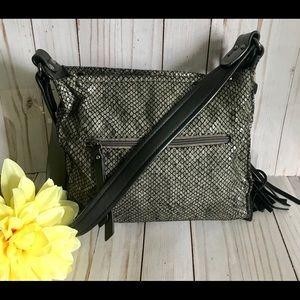 Sondra Roberts Squared Grey/Green Shoulder Bag